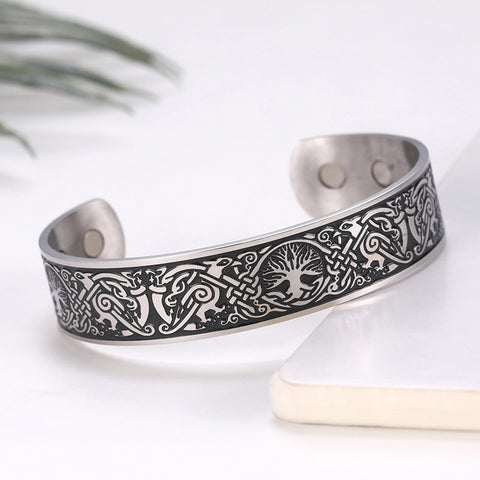 Viking Bangles Endless Love Knots Tree of Life Birds 316L Stainless Steel Cuff