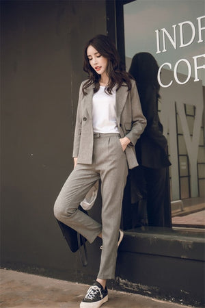 Women Suit Gray Casual Blazer & High Waist Pant