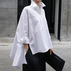 New Spring Autumn Lapel Long Sleeve White Back Shirt