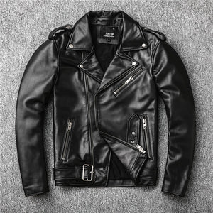 Brand new genuine leather jacket.mens motor biker sheepskin