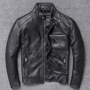Genuine Leather Jacket Men Clothes 2019 Cowhide Coat Motorcycle Real Cow Leather Jackets Spring Autumn Coats 094Hei KJ3192