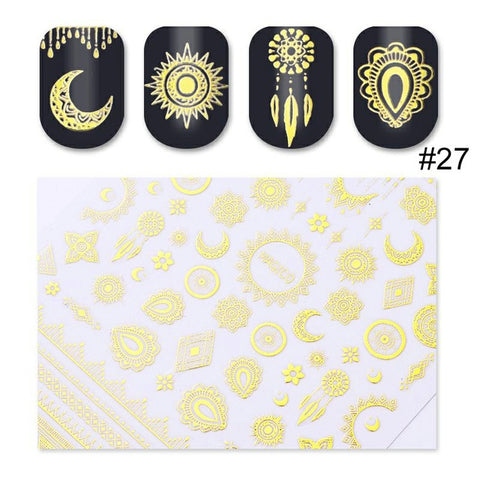 1 Sheet Gold Silver Metal 3D Nail Sticker