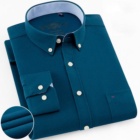 Image of Mens Long Sleeve Solid Oxford Dress Shirt with Left Chest Pocket High-quality