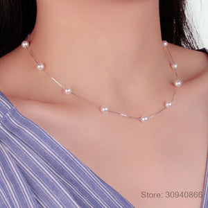 925 Sterling Silver Jewelry 12 PCS 6mm Pearl Box Chain Choker Necklace kolye collares bijoux femme S-N54