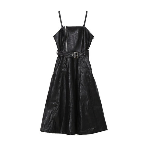 New Spring Autumn Solid Color Strapless Black PU Leather High Waist Belt Zipper Loose Dress