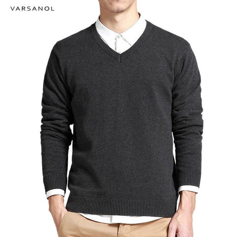 Varsanol Cotton Sweater Men Long Sleeve Pullovers v neck
