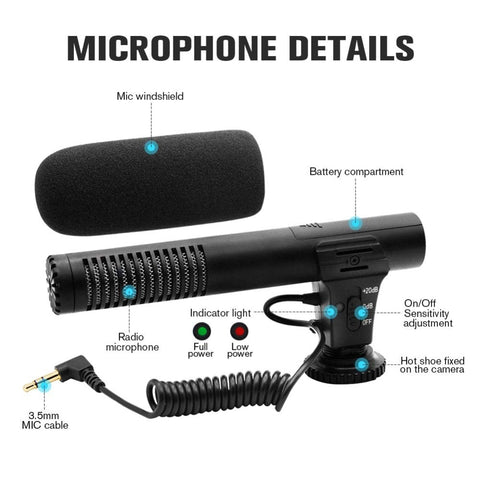 MAMEN 3.5mm Audio Plug Professional Camera Recording Microphone For Camera