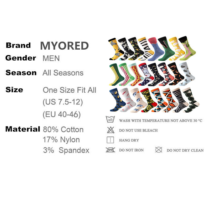 MYORED 1 pair men socks combed cotton cartoon novelty funny socks