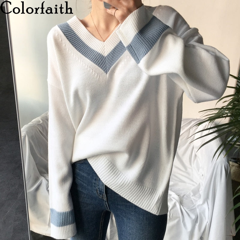 Colorfaith New 2019 Autumn Winter Women's Sweaters Black White Pullover Korean Style Minimalist Casual Office Lady SW8853