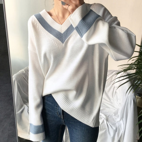 Image of Colorfaith New 2019 Autumn Winter Women's Sweaters Black White Pullover Korean Style Minimalist Casual Office Lady SW8853