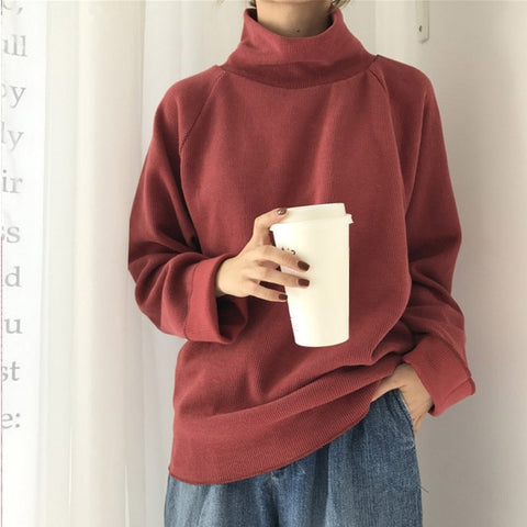 AECU11 Turtleneck sweater Spring Fall Knitted Jumpers Women's Sweater Casual Loose Long Sleeve