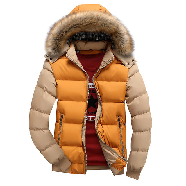 Winter Down Coat Men Casual Fur Hooded Cotton Padding Parka