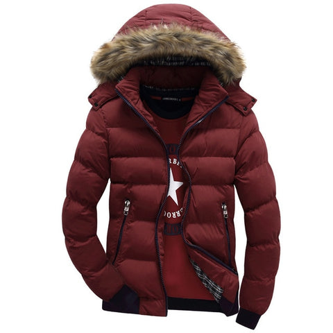 Image of Winter Down Coat Men Casual Fur Hooded Cotton Padding Parka
