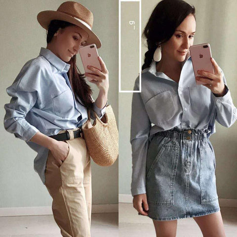 Image of Spring Women Summer Blouse Korean Long Sleeve Womens Tops And Blouses