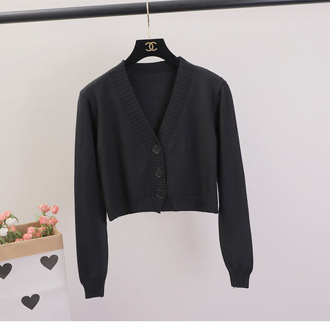 Image of Women's Cropped Cardigan Sweaters Female Black White Short Sweater V Neck Single Breasted