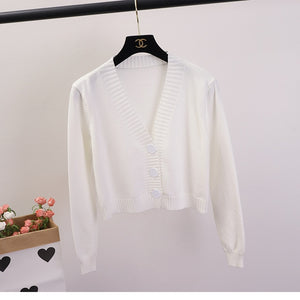 Women's Cropped Cardigan Sweaters Female Black White Short Sweater V Neck Single Breasted