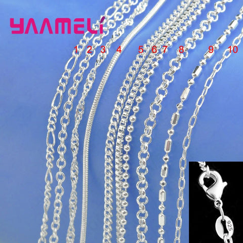 925 Sterling Silver Chain Necklace with Lobster Clasps 10 designs