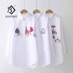 NEW White Shirt Casual Wear Button Up Turn Down Collar Long Sleeve Cotton Blouse