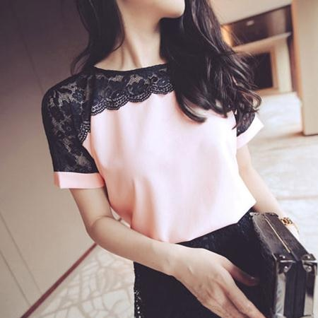 Korean Fashion Chiffon Blouses For Women, Pink Short Sleeve Lace Shirts For Women