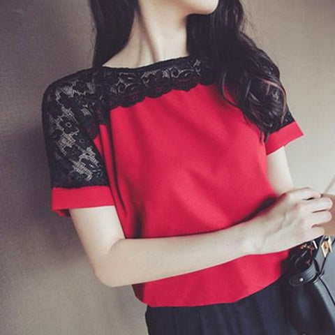 Image of Korean Fashion Chiffon Blouses For Women, Pink Short Sleeve Lace Shirts For Women
