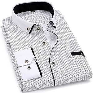 Men Fashion Casual Long Sleeved Printed shirt Slim Fit