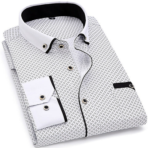 Image of Men Fashion Casual Long Sleeved Printed shirt Slim Fit