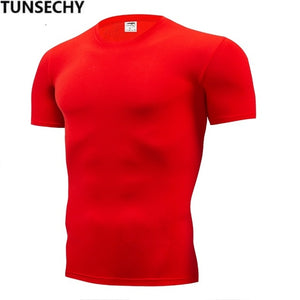 TUNSECHY Fashion pure color T-shirt Men Short Sleeve