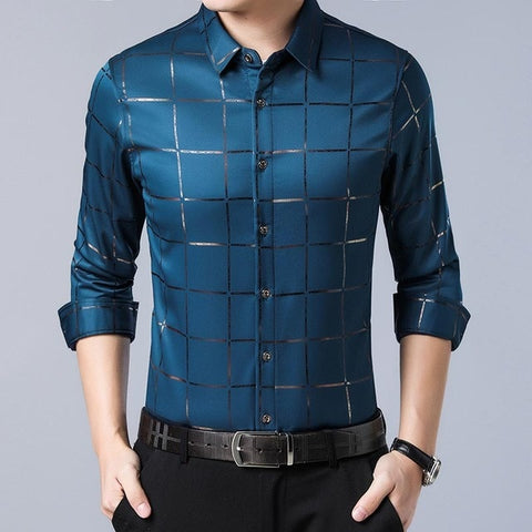 Image of Branded casual spring luxury plaid long sleeve slim fit men shirt streetwear social dress