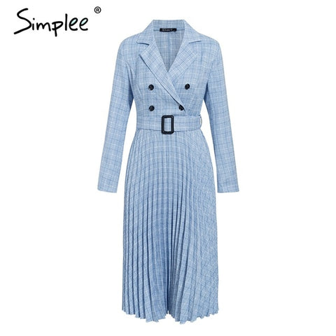 Simplee Vintage pleated belt plaid dress women