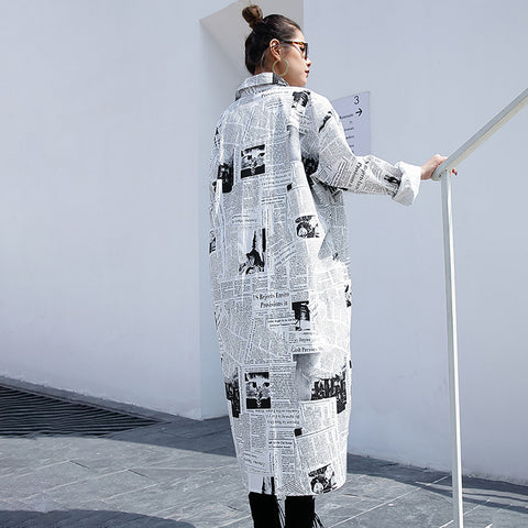 Image of Lapel Long Sleeve White Printed Loose Irregular Big Size Long Shirt