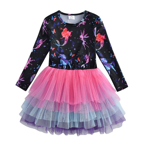 VIKITA Kids Dress for Girls Long Sleeve Children Party Dress
