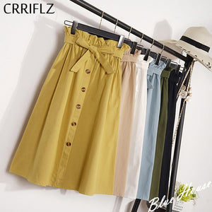 CRRIFLZ Summer Autumn Skirts Womens Midi Knee Length Korean Style