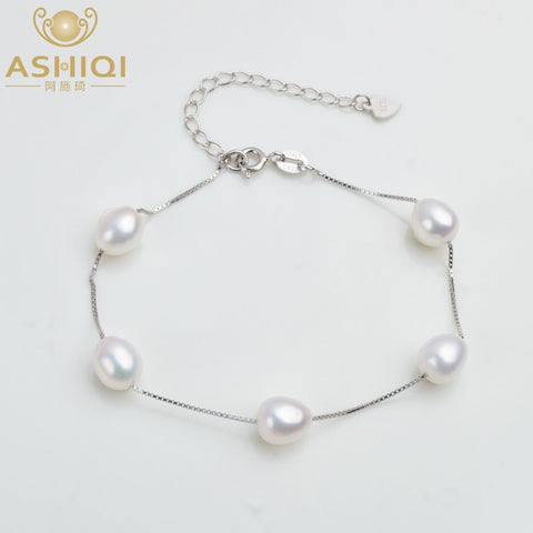 Image of ASHIQI Genuine 925 Sterling Silver Bracelet For Women 7-8mm Natural Freshwater Pearl jewelry 4 Colours