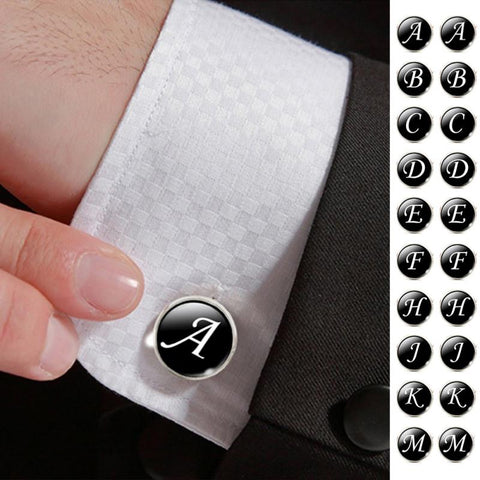 Image of Men's Fashion A-Z Single Alphabet Cufflinks Silver Color Letter Cuff Button