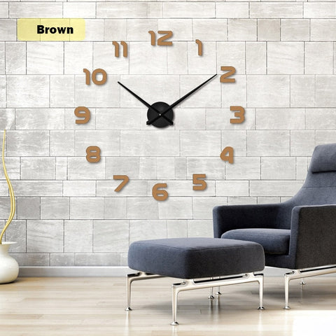New Clock Watch Wall Clocks Horloge 3d Diy Acrylic Mirror Stickers DIY