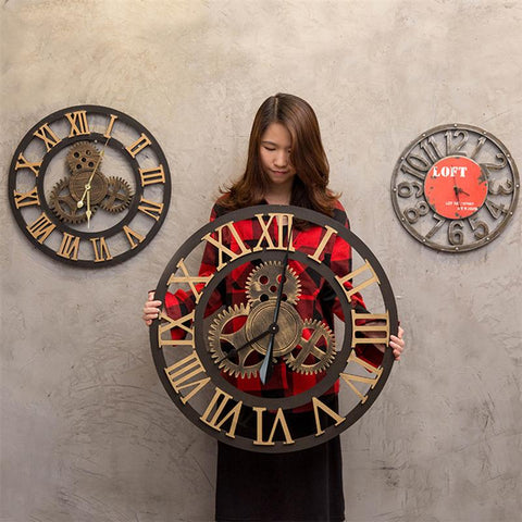 Image of Industrial Gear Wall Clock Decorative Retro MDL Wall Clock