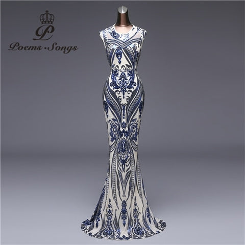 New style Mermaid Evening Dress Luxury Sequin prom gowns Party dress