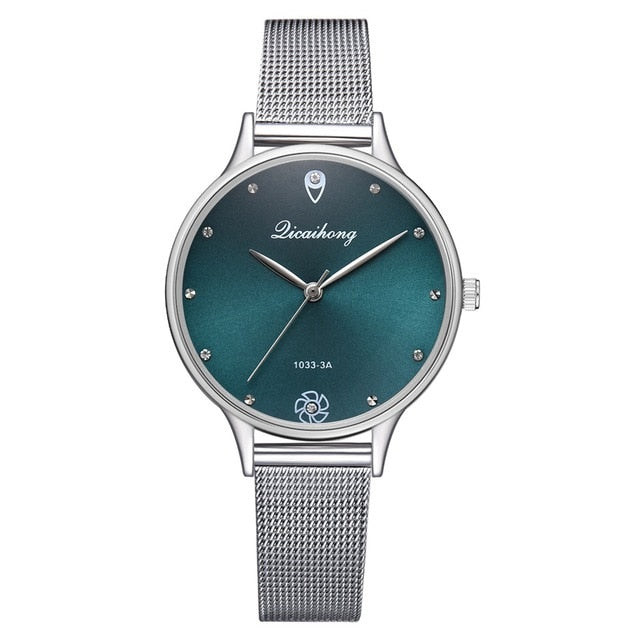 Luxury Women Green Dial Bracelet Quartz Watch