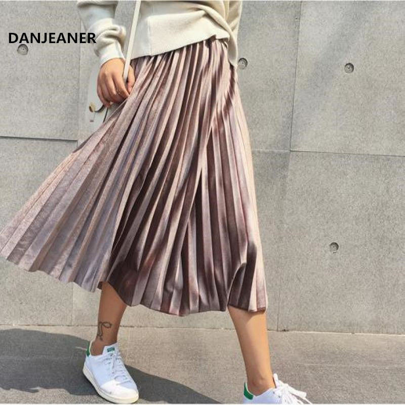 Danjeaner  Women Long Metallic Silver Maxi Pleated Skirt