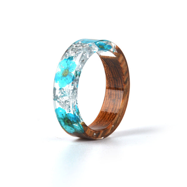 Hot Sale Handmade Wood Resin Ring Dried Flowers Plants Inside