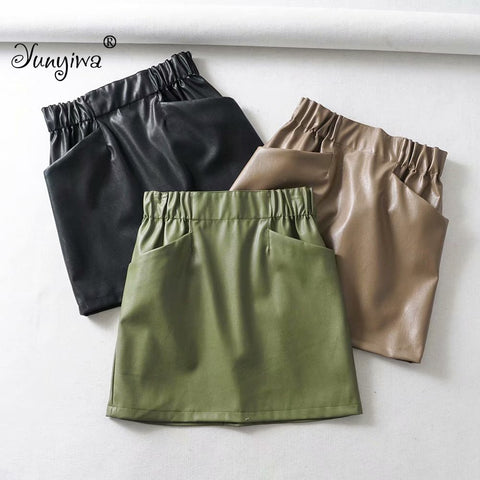 Women Skirts Above Knee Mini Women's double pocket elastic waist