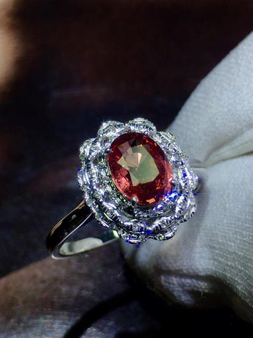 Pink Sapphire Ring Real Pure 18 K Natural Pink Padparadscha Sapphire Gemstones 1.09ct  Stone Female Ring