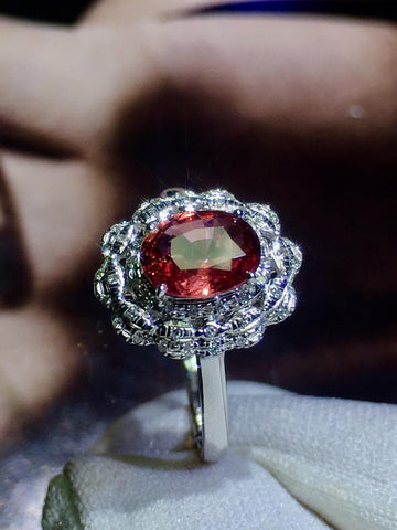 Image of Pink Sapphire Ring Real Pure 18 K Natural Pink Padparadscha Sapphire Gemstones 1.09ct  Stone Female Ring