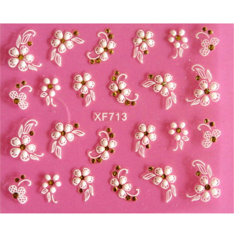 Lovely 3D flower design Water Transfer Nails Art Sticker