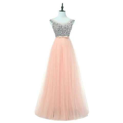 FADISTEE New arrival luxury long style dresses bling beading tulle evening dresses prom party crystal pearls floor length