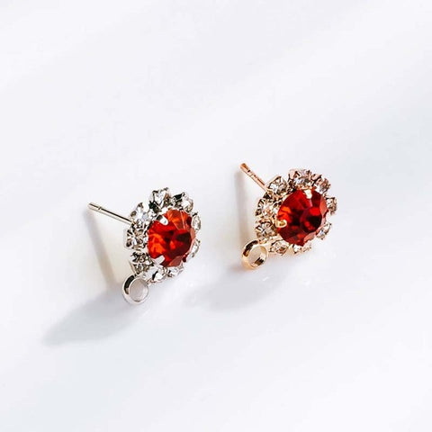 Image of ZEROUP Rhinestone White K Gold Plated Stud Earrings