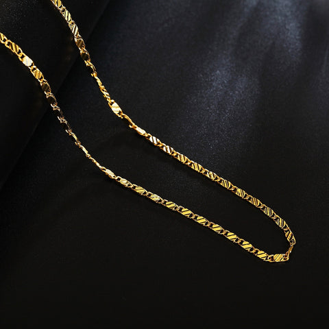 Fashion Exquisite Jewelry 18 K Stamp Gold  2mm Chain Necklace