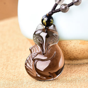 Natural Ice Obsidian Pendant Necklace Original Fox Jewelery