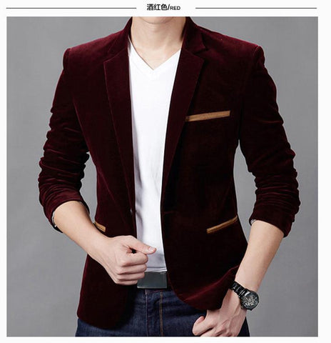 Luxury Blazer Men Spring Fashion Brand Quality Cotton Blazer
