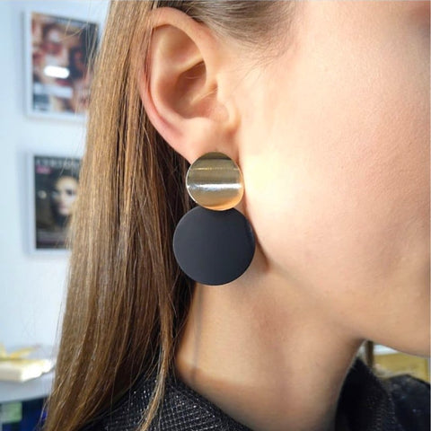 Image of Fashion Non Pierced Clip On Earrings Gold Black Metal